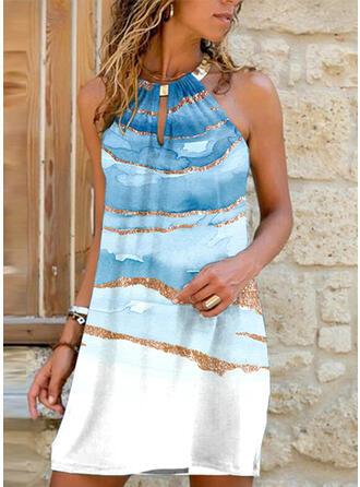 Print Sleeveless Shift Above Knee Vacation Dresses