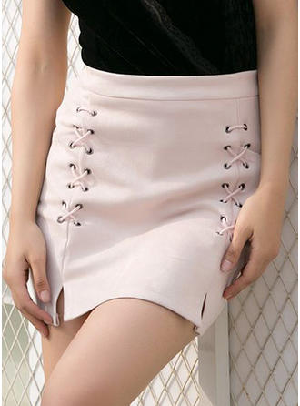 Polyester Plain Knee Length Pencil Skirts