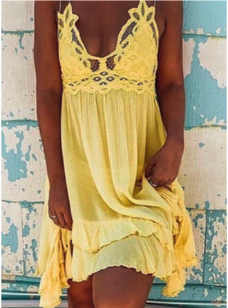 Lace/Solid Sleeveless Shift Above Knee Casual/Vacation Slip Dresses
