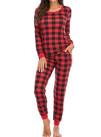 Cotton Blends Long Sleeves Christmas Grid Pyjama Set