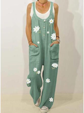 Floral Print Strap Sleeveless Casual Vacation Jumpsuit