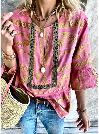 Animal Print V-Neck Flare Sleeve 3/4 Sleeves Casual Blouses