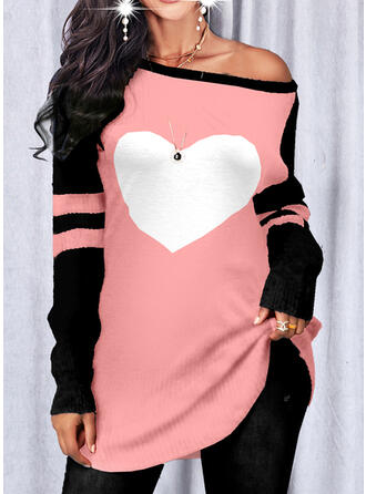 Heart Round Neck Casual Sweaters