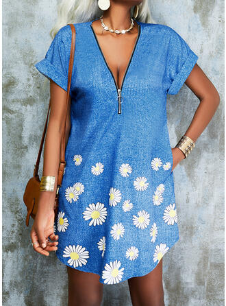 Print/Floral Short Sleeves Shift Above Knee Casual Tunic Dresses