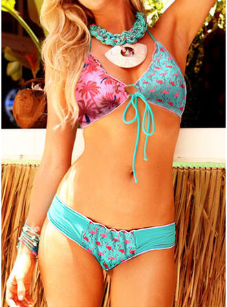 Splice color Animal Print V-Neck Strapless Sexy Casual Bikinis Swimsuits