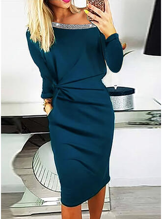 Sequins/Solid Long Sleeves Bodycon Knee Length Little Black/Elegant Pencil Dresses
