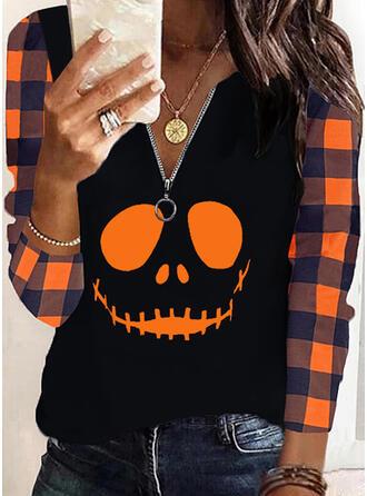 Halloween Print Plaid V-Neck Long Sleeves Casual Blouses
