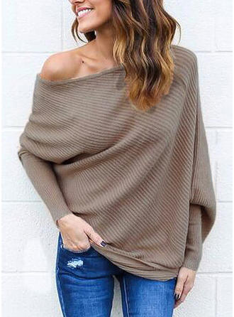 Solid One Shoulder Casual Sexy Sweaters