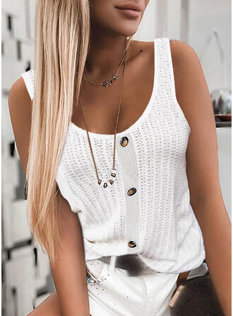 Solid Knit Round Neck Sleeveless Tank Tops