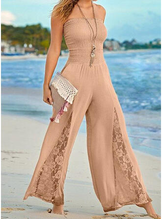 Lace Solid Strapless Sleeveless Casual Vacation Sexy Jumpsuit