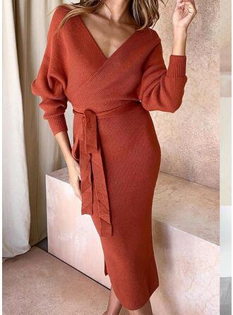 Knit Long Sleeves Bat Sleeve Asymmetrical Elegant Midi Dresses