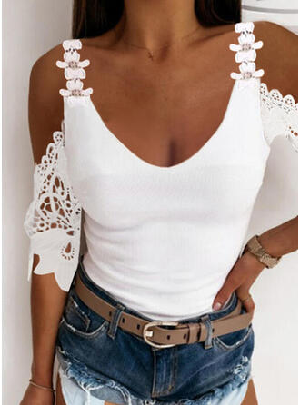 Solid Lace Cold Shoulder 1/2 Sleeves Sexy Blouses