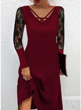 Color Block Long Sleeves A-line Elegant Midi Dresses