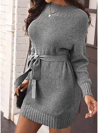 Solid Long Sleeves Raglan Sleeve Sheath Above Knee Casual Sweater Dresses