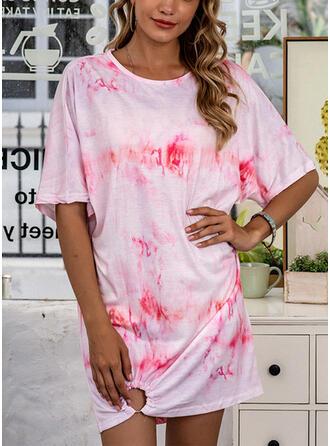 Polyester Round Neck Short Sleeves Tie Dye Night Dress