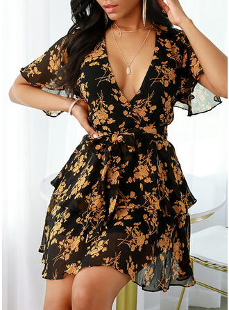 Print/Floral Short Sleeves/Flare Sleeves A-line Above Knee Casual/Vacation Dresses
