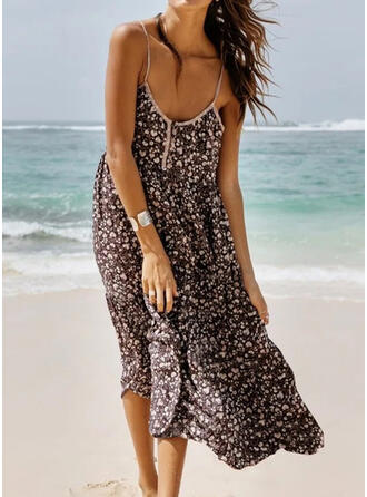 Print Sleeveless Shift Slip Casual/Vacation Midi Dresses