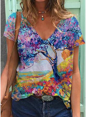 Print V-Neck Short Sleeves T-shirts