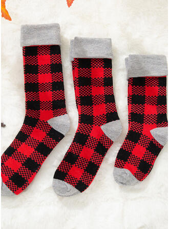 Plaid Comfortable/Christmas/Crew Socks/Family Matching/Unisex Socks