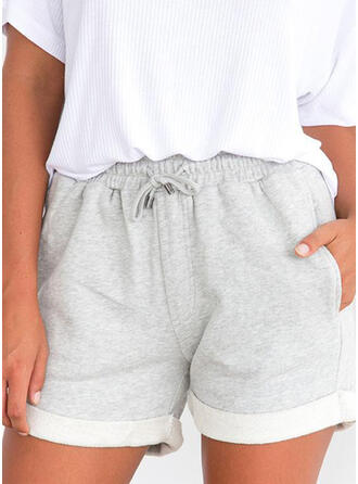 Solid Drawstring Casual Solid Shorts
