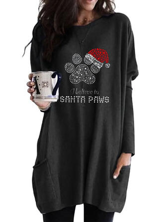 Sequins Pockets Letter Round Neck Long Sleeves Christmas Sweatshirt