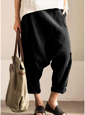 Solid Shirred Plus Size Long Casual Sporty Pants