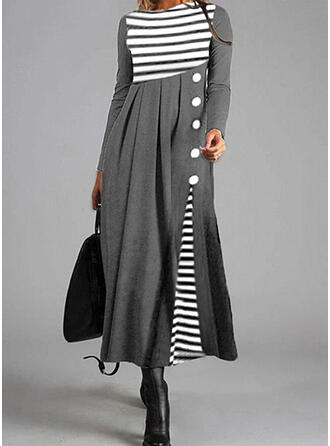 Striped Long Sleeves A-line Skater Casual Midi Dresses