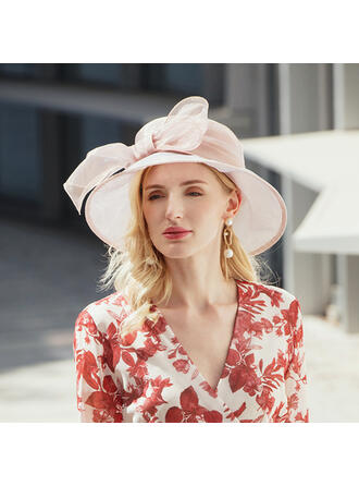 Ladies'/Couples' Classic/Elegant/Vintage Organza With Bowknot Straw Hats/Beach/Sun Hats