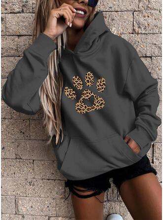 Animal Print Leopard Pockets Long Sleeves Hoodie