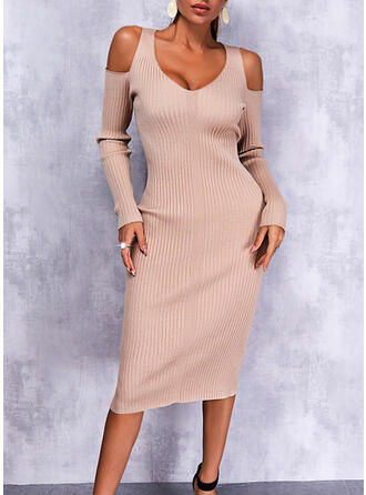 Solid Long Sleeves Cold Shoulder Sleeve Sheath Casual Midi Dresses