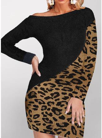 Leopard Boat Neck Casual Sweater Dress