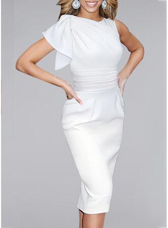Solid Short Sleeves Bodycon Little Black/Party/Elegant Midi Dresses