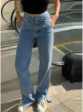 Solid Denim Long Casual Denim & Jeans