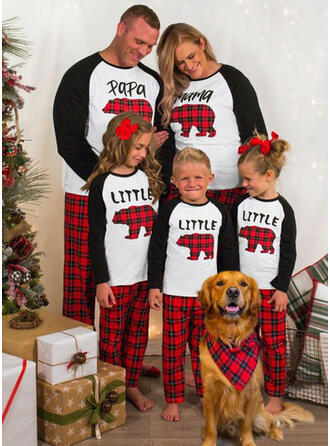 Deer Bear Plaid Letter Family Matching Christmas Pajamas