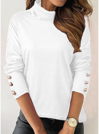 Solid High Neck Long Sleeves T-shirts