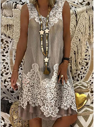 Lace Sleeveless Shift Knee Length Casual Tank Dresses