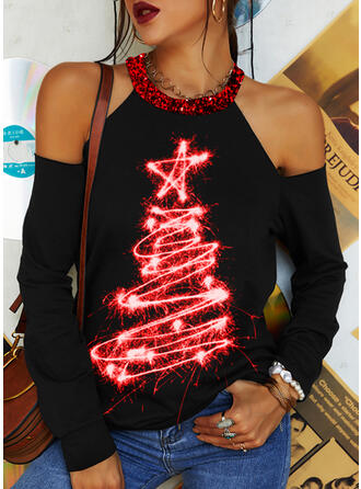 Christmas Star Sequins Cold Shoulder Long Sleeves T-shirts