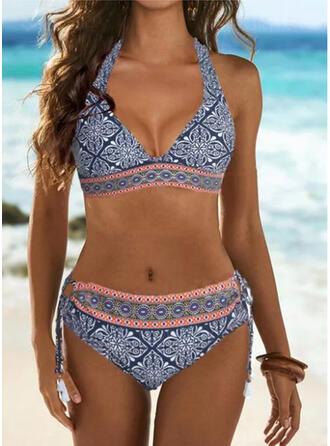 Stripe Splice color Halter V-Neck Boho Bikinis Swimsuits