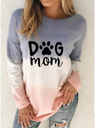 Animal Print Figure Gradient Round Neck Long Sleeves Sweatshirt