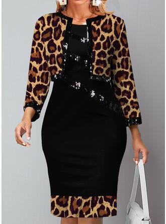 Leopard Sequins Long Sleeves Bodycon Knee Length Elegant Dresses