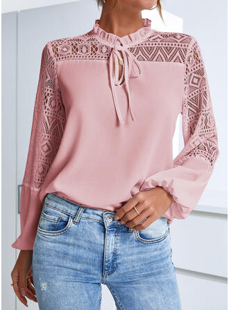Solid Lace Stand collar Long Sleeves Elegant Office/Business Blouses