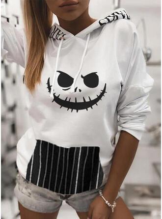 Print Striped Halloween Long Sleeves Hoodie
