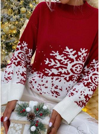 Christmas Print Color Block Snowflake Band Collar Casual Sweaters