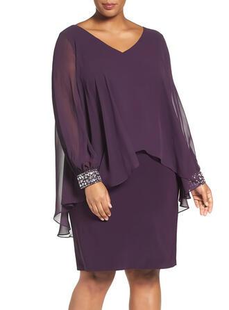 Sequins/Solid Long Sleeves Sheath Knee Length Party/Elegant Dresses