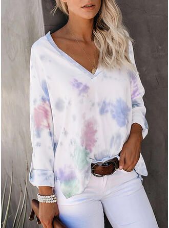 Tie Dye V-Neck Long Sleeves T-shirts