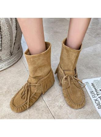 Women's Suede Low Heel Round Toe Winter Boots shoes