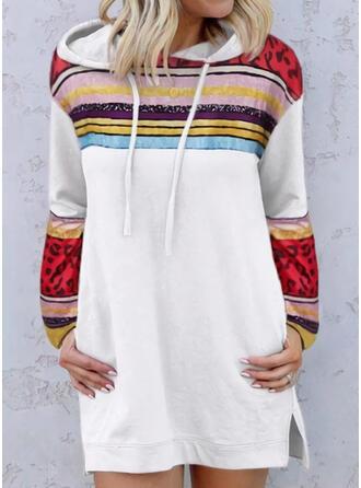Striped/Leopard Long Sleeves Shift Above Knee Casual Sweatshirt Dresses