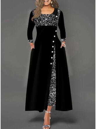 Sequins Long Sleeves A-line Skater Elegant Maxi Dresses