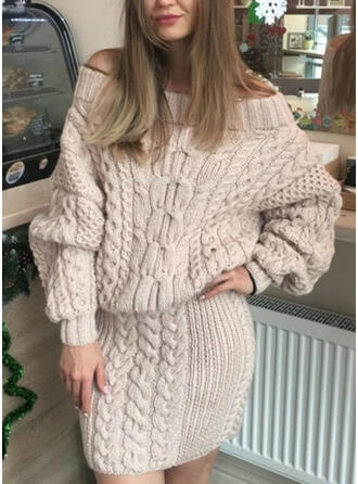Solid Cable-knit Off the Shoulder Casual Long Sweater Dress