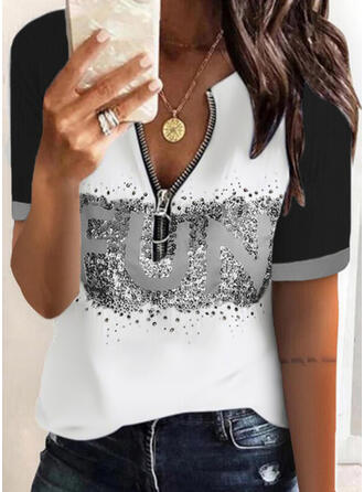 Print Color Block Letter V-Neck Short Sleeves Casual Blouses